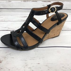 Clark's Artisan Sandal Wedge Strappy Peep Toe